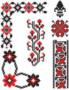 motive populare romanesti - Поиск в Google Simple Cross Stitch, Cross Stitch Borders, Cross Stitch Flowers, Cross Stitch Charts, Cross Stitch Embroidery, Hand Embroidery, Cross Stitch Patterns, Beading Patterns, Pixel Art