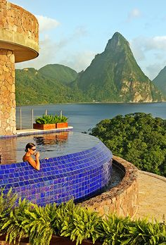 Brides.com: . 2. Jade Mountain Resort in St. Lucia    This resort is known for its lush setting and its three-walled, open-air suites that are built into the side of the mountain. The biggest draw: Many rooms have massive private infinity pools with spectacular views of the Piton Mountains; Jade Mountain Resort