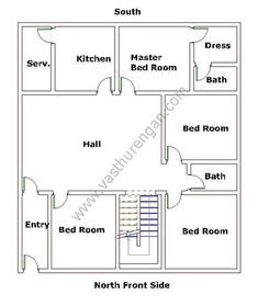 North House Vastu Plan 7 Vasthurengan Com 2bhk House Plan, Model House Plan, House Layout Plans, New House Plans, Dream House Plans, Bungalow Floor Plans, Bungalow House Design, House Floor Plans, 20x30 House Plans