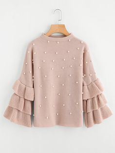 Pearl Beaded Layered Ruffle Sleeve Jumper -SheIn(Sheinside) Source by taylor_divine_slager clothes Girls Fashion Clothes, Girl Fashion, Fashion Design, Fashion Fall, Womens Fashion, Fall Outfits, Casual Outfits, Cute Outfits, Fall Dresses