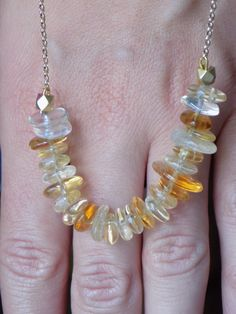"Beautiful smooth rondels in various sunny shades of Citrine on 20""Gold filled chain/Citrine necklace/yellow stone necklace/gold necklace by pearlzsisterz on Etsy https://www.etsy.com/listing/243591772/beautiful-smooth-rondels-in-various"