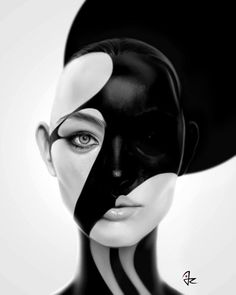 """Black Mask"" digital painting by Giulio Rossi"