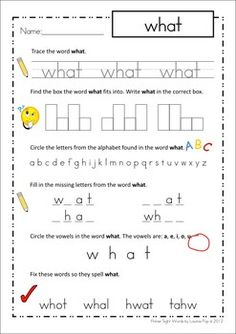Sight Words - Word Analysis Worksheets (Primer Words). Love the MANY tasks on this page: tracing the word, finding the word shape, identifying all the letters in the word, identifying the vowels, correcting mistakes in the words (great for children with letter reversals). Would be great for homework or early finisher work!