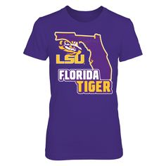 LSU Tigers - Florida Map Mascot T-Shirt, LSU Tigers Official Apparel - this licensed gear is the perfect clothing for fans. Makes a fun gift!  The LSU Tigers Collection, OFFICIAL MERCHANDISE  Available Products:          District Women's Premium T-Shirt - $29.95 District Men's Premium T-Shirt - $27.95 Gildan Unisex Pullover Hoodie - $44.95 Gildan Long-Sleeve T-Shirt - $33.95 Gildan Fleece Crew - $39.95 Next Level Women's Premium Racerback Tank - $29.95       . Buy now…