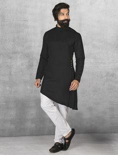 Shop terry rayon black kurta suit online from india. Mens Indian Wear, Indian Groom Wear, Indian Men Fashion, India Fashion, Mens Fashion, Fashion Suits, Kurta Pajama Men, Kurta Men, Mens Sherwani