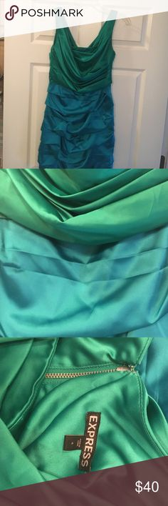 Express two-toned dress This Express aqua and green dress is great for spring and summer weddings! It is very classy! It has been worn two times and is in great condition! Express Dresses