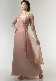 Chiffon V-neck A-line Long Mother Of The Bride Dress