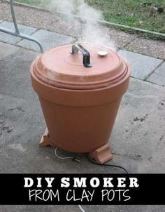 DIY: Terra Cotta Meat Smoker - complete step by step info & pics with this tutorial - Outdoor Cooking :) Pots D'argile, Clay Pots, Diy Smoker, Homemade Smoker, Homemade Clay, Food Smoker, Smoker Cooking, Diy Clay, Diy Projects To Try