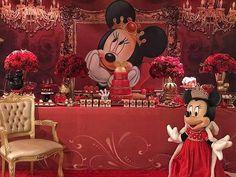 Decoraçao by Fábio Raian - @fabioraian Só dá ela.. Minnie Realeza.. Minnie Mouse Party, Mickey Mouse, Disney Characters, Birthday, Red, Instagram, Meet, Birthdays, Baby Mouse