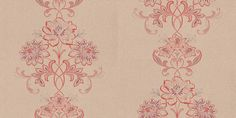 Karolina (ENY5631 3000) - Caselio Wallpapers - A beautiful stylised floral trail with swirling leaves and branches. Shown here in orange and purple on a beige background. Other colour ways also available. Please request a sample for true colour match.