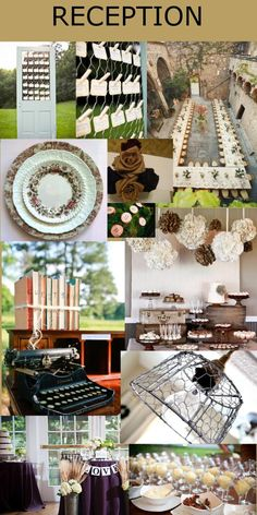 Lizz & Shaun #Vintage #Farmhouse #wedding design plan inspiration board for the reception.