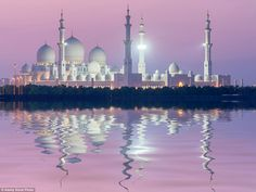 The breathtaking Sheikh Zayed Grand Mosque in Abu Dhabi, United Arab Emirates took 10 years to complete and is an architectural marvel.