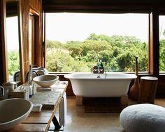 banheiro com vista pra floresta
