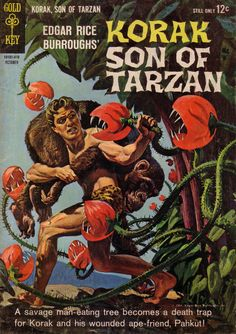Classic painted cover by Morris Gollub from Korak, Son of Tarzan #5, published by K. K. Publications Inc., October 1964.