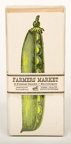 SWEET PEAS in a POD Greeting Cards Farmers Market Letterpress Card Pack of 8