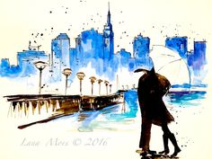 Watercolor New York  for Two - Love Kiss Travel Original Watercolor Painting - Wanderlust New York City by Lana Moes