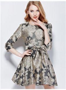 欧米セレブ愛用新品 2015秋 優雅プリント柄 着やせワンピース