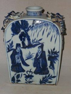 Beautiful Chinese Blue and White Porcelain Personal Stories Vase | eBay