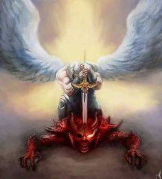 Tattoos Discover Defeating the devil demon hunter& win all the time in Jesus Name. That& how powerful Jesus is. Male Angels Vs Angels Tattoo Deus Dragon Sword Angel Warrior Ange Demon Heaven And Hell Black Artwork Warrior Angel Jesus Drawings, Dragon Sword, Pictures Of Jesus Christ, Demon Tattoo, Angels Tattoo, Angel Warrior, Ange Demon, Jesus Art, Biblical Art
