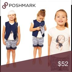 Mini Voiz Blue Vest and Lace Trimmed Short Set Mini Voiz Blue Vest and Lace Trimmed Short Set 5pc Set Includes Vest w/Zipper Detail, Shorts, Shirt, Belt and Purse Colors Available: As Pictured Sizes Available: 4, 6, 8, 10, 12 & 14  Vest: 100% Polyester ~ Shorts:  97% Cotton / 3% Spandex ~ Shirt: 95% Cotton / 5% Spandex ***Please Note: Has hard as we try to take quality pictures colors of item maybe slightly different than shown due to lighting or lens used. Mini Voiz Matching Sets