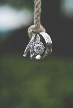 Creative wedding ring photo. Get it, tied the knot?