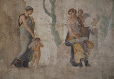 """myhistoryblog: """"Fresco depicting the punishment of Eros by Venus, found in the House of Punished Love in Pompeii, 25 BC, Naples National Archaeological Museum by Following Hadrian on Flickr. """""""