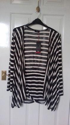 878397fdd5bd Ladies Cardigan by Klass XL Black/Cream stripped NWT's #fashion #clothes  #shoes