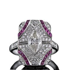 Deco Style Marquise Diamond Dinner Ring