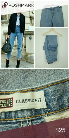 "Vintage High Waisted Mom Jeans Thislisting is for a pair of light blue vintage dungarees. 7/10 condition! Small holes on back pocket seam from wear. The tag states size 8 petite, but ABSOLUTELY make sure to refer to measurements before making a purchase ! Waist 14"",rise 11"", hip 18.5"",inseam uncuffed 27"", overall length 37"". Vintage Jeans"
