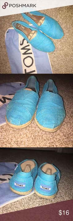 Gently Used Turquoise TOMS Freetown Classics Super cute Turquoise TOMS Classics. Slip-ons with rope sole detailing. Gently Used. Signs of wear on soles. Still in great condition! Toms Shoes