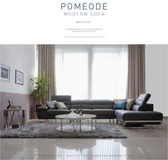 Pomeode modern leather sofa.