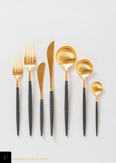 Sleek and luxurious brushed 24k gold & black flatware. Salad/Dessert Fork Dinner Fork Butter Knife Dinner Knife Dinner Spoon Tea Spoon Demitasse Spoon