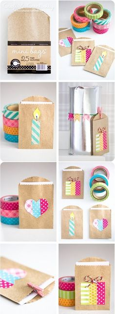 With Washi-Tape from the craft shop, you can play a gift easily with any present ., With washi tape from the craft shop, you can easily give each gift a personal touch . Washi Tape Cards, Washi Tape Diy, Washi Tapes, Small Gift Bags, Small Gifts, Diy Paper Bag, Ideias Diy, Craft Shop, Craft Kits