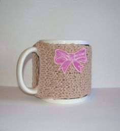 Knitted Mug Cozy  Tan with Pink Satin Bow by KatysKnitKnacks, $7.00
