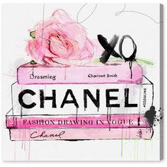 Dripping Roses and Chanel Canvas Print, Oliver Gal Reviews ❤ liked on Polyvore featuring home, home decor, wall art, rose wall art and rose home decor