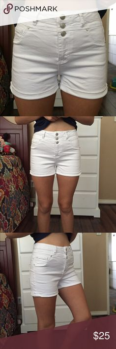White high waisted shorts Super cute never worn( with the exception of the pictures) Hotpant Shorts