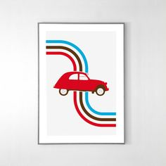 Citroen 2CV 1948 Poster BIG POSTER 19x12 inches Red by loscadotte • citroen 2CV art