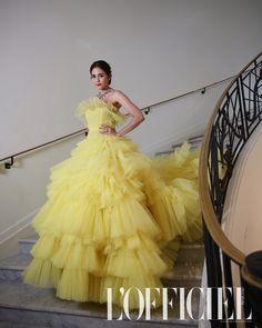 Cannes 2018 Actress Chompoo Araya Thai Fashion, High Fashion, Glam Dresses, Formal Dresses, Thai Style, Celebs, Celebrities, Yellow Dress, Actors & Actresses