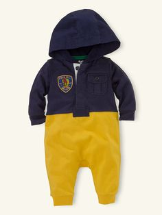 Hooded Rugby Coverall - One-Pieces   Layette Boy (Newborn–9M) - RalphLauren.com