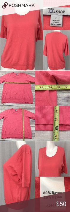 Size Large The Tog Shop Coral Short Sleeve Sweater • Measurements are in photos  • Material tag is in photos • Normal wash wear, no flaws • Short Sleeves  • Crewneck  • coral color  C3/26  Thank you for shopping my closet! The Tog Shop Sweaters Crew & Scoop Necks