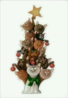 El mejor arbol de navidad - koty w malarstwie - Noel Christmas, Christmas Cats, Xmas, I Love Cats, Crazy Cats, Cute Cats, Animals Watercolor, Illustration Mignonne, Image Chat