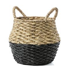 The Bilbao Basket is a woven two tone basket with extendable handles. Perfect for additional storage around the home or for use as a plant holder. Available in black or white.