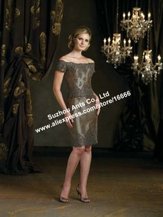 Buy Free Shipping Sheath Short Sleeve Beaded lace Knee Length Green Mother Of The Bride Dress MD417 on Aliexpress.com