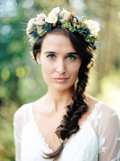 Wedding Hair Inspiration: Braid with Floral Crown | Bridal Musings Wedding Blog