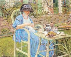 Breakfast in the Garden, 1911, by Frederick Carl Frieseke (American, 1874-1939).