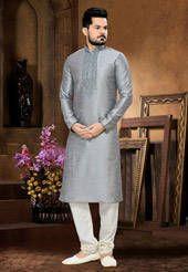 Grey Art Silk Readymade Kurta with Churidar