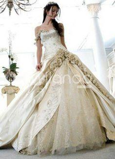 Gorgeous Champagne Satin Sweetheart Sweep Womens Luxury Wedding Dress  US$ 239.99