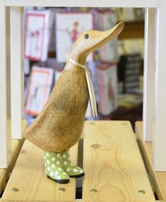 DCUK Green Spotty Welly Duckling.