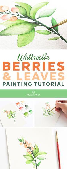 Step-by-step watercolor berries + leaves painting tutorial #watercolor