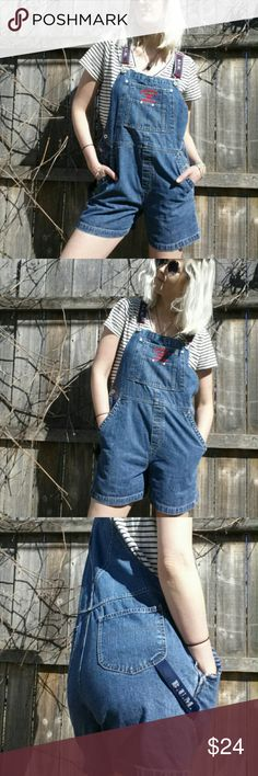 "BUM EQUIPMENT overalls 90's vintage denim Great 90's denim overalls! EUC! Hip measurements 18.5"" B.U.M. Equipment  Shorts Jean Shorts"